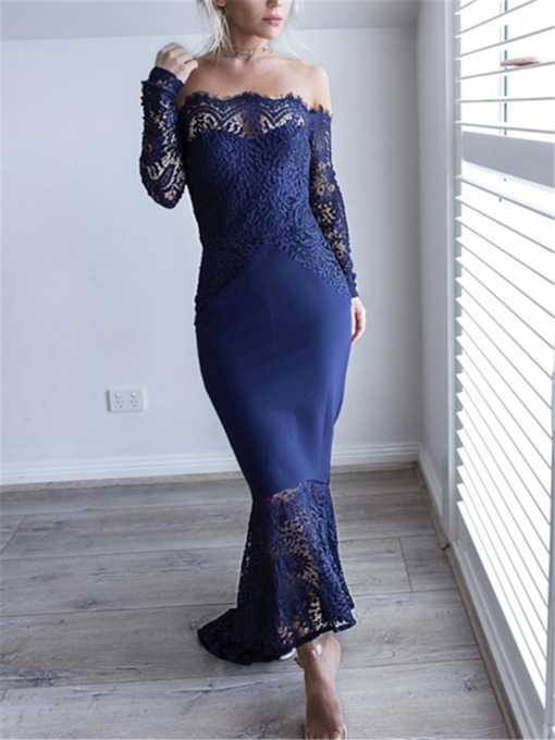 Asymmetry Trumpet Lace Long Sleeves Evening Dress 2019