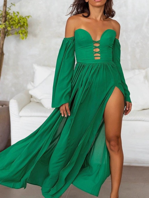 Long Sleeve Off Shoulder Hollow Summer Women's Maxi Dress