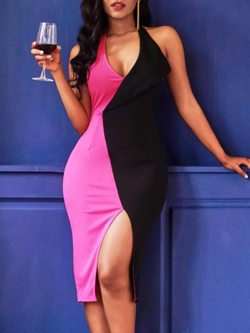 Sleeveless V-Neck Split Pullover Women's Bodycon Dress