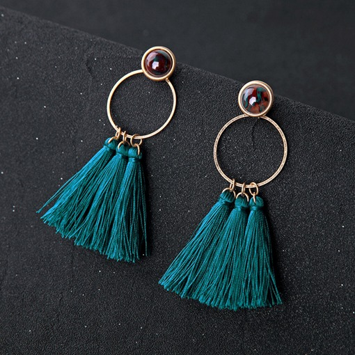 Lake Blue Tassel Summer Drop Earrings