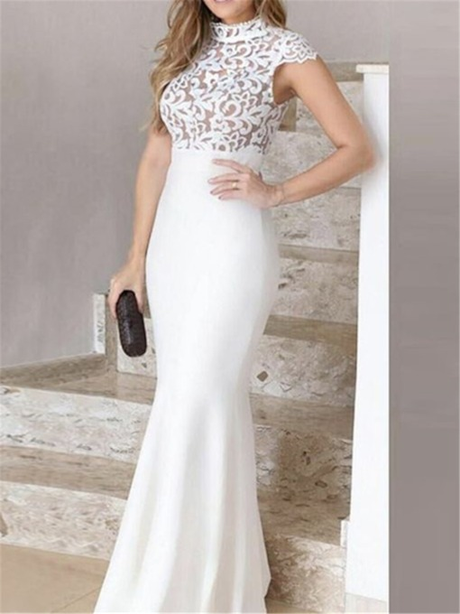 High Neck Trumpet Floor-Length Cap Sleeves Evening Dress 2019