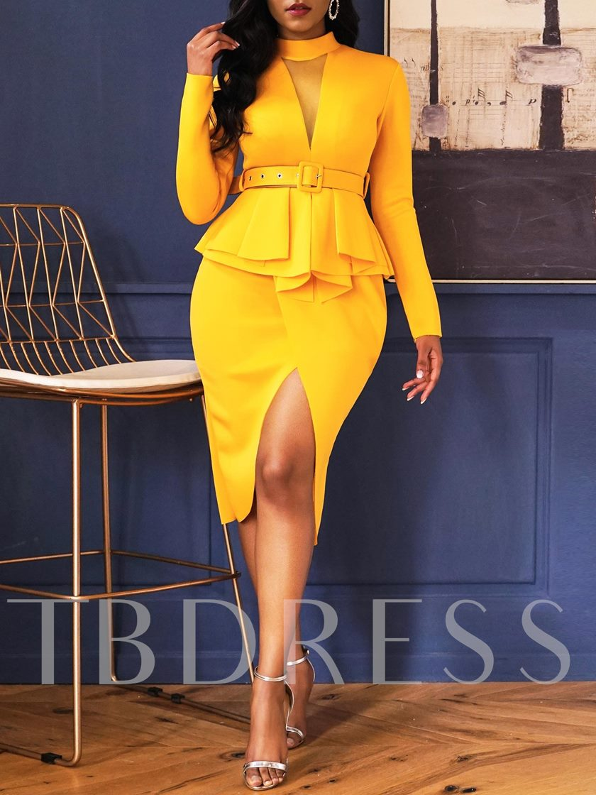 Patchwork Long Sleeve Belt Women's Bodycon Dress