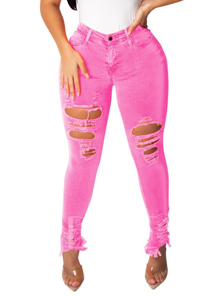 Pencil Pants Button Plain Skinny Women's Jeans