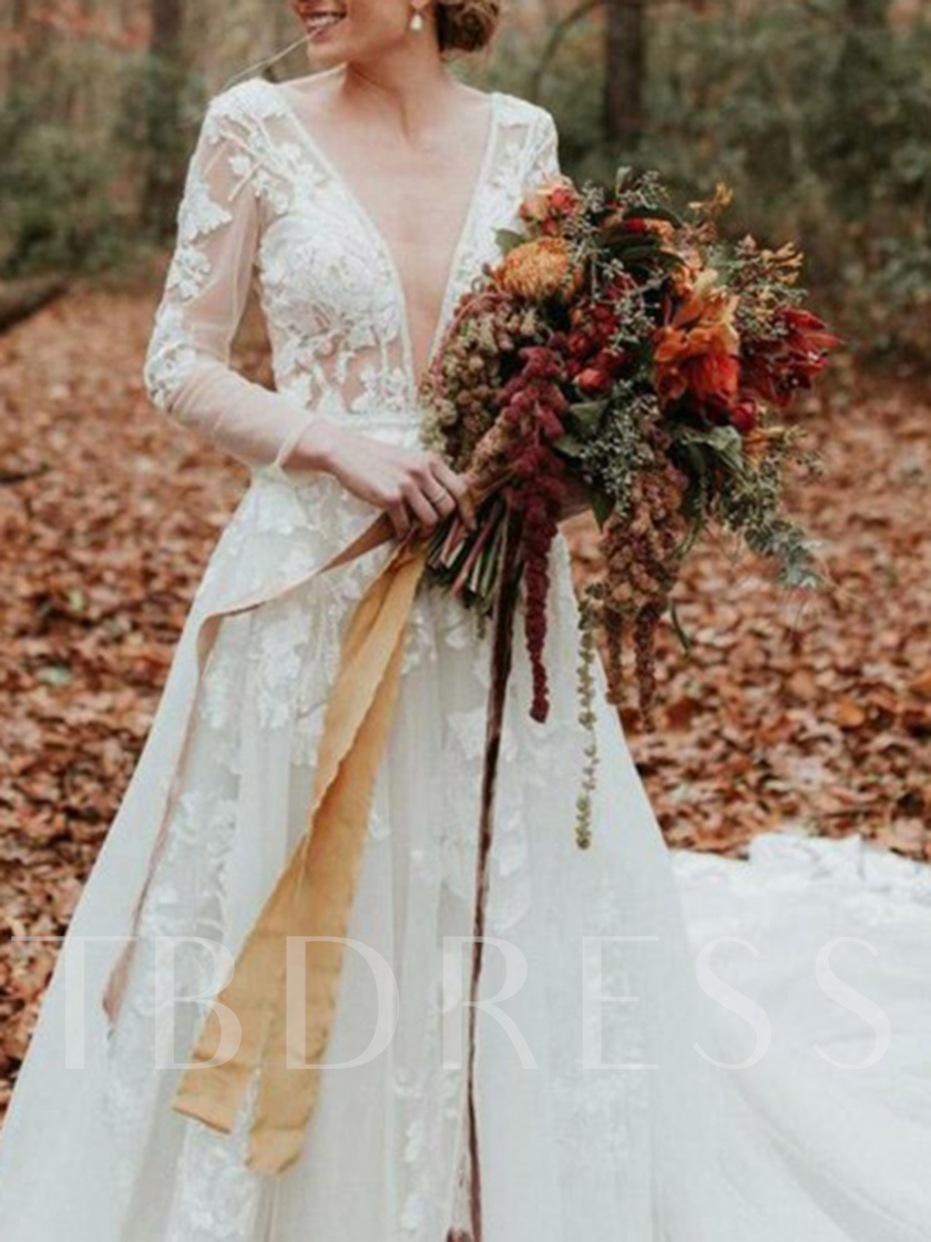 Beading Deep V-Neck Appliques Long Sleeve Wedding Dress 2019