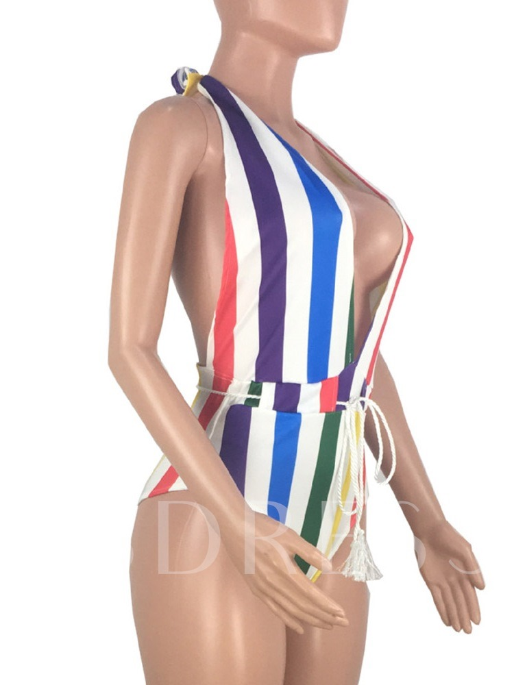Stripe One Piece Western Women's Swimwear