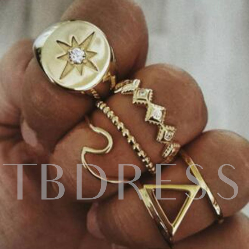 5 Pcs Retro Golden Color Geometry Diamante Ring