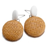 Color Block Bohemian Straw Dangle Earrings