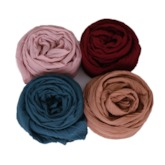 Plain Crinkle Hijab Cotton Solid Color Head Scarf