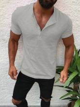 Casaual Fashion Solid Color Buttom Short Sleeve Men's T-shirt