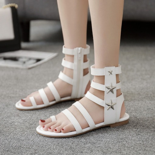 Ankle Strap Toe Ring Zipper Flat Heel Roman Sandals