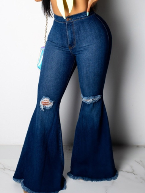 Plain Bellbottoms Hole Slim Women's Jeans