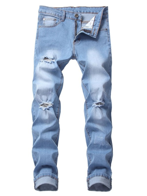 Hole Thin Zipper Men's Jeans