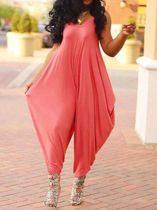 Full Length Plain Loose Women's Jumpsuit