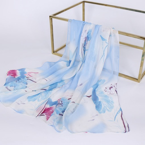 Women Chiffon Square Polyester Flower Print Summer Silk Scarf