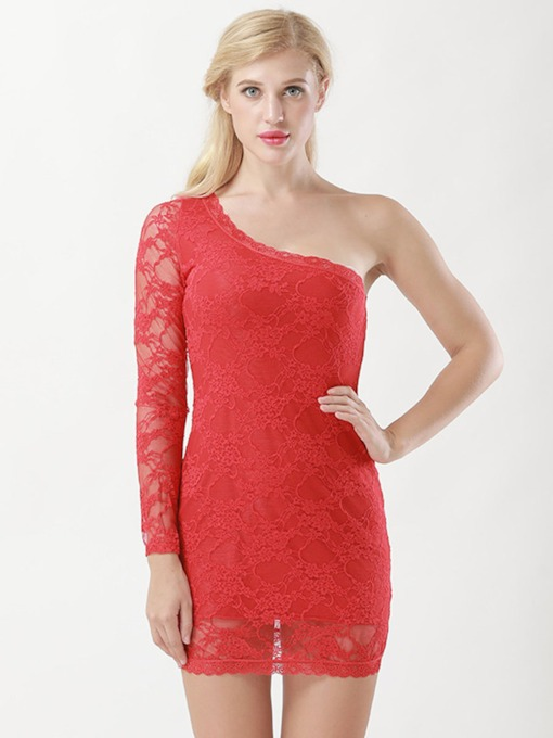 Lace Inclined Shouldre Floral LaceTight Wrap Dress Chemise