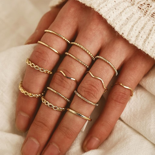 Vintage Gold Geometric Alloy Ring Set for Women