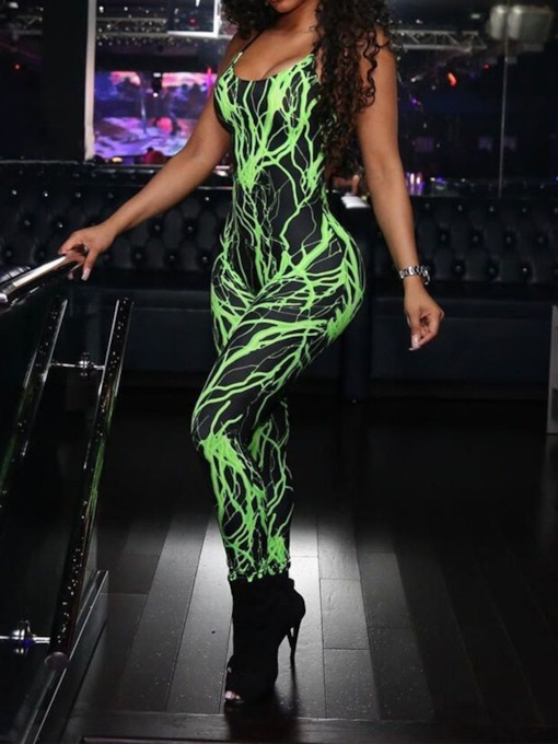 Office Lady Full Length Print Skinny Women's Jumpsuit