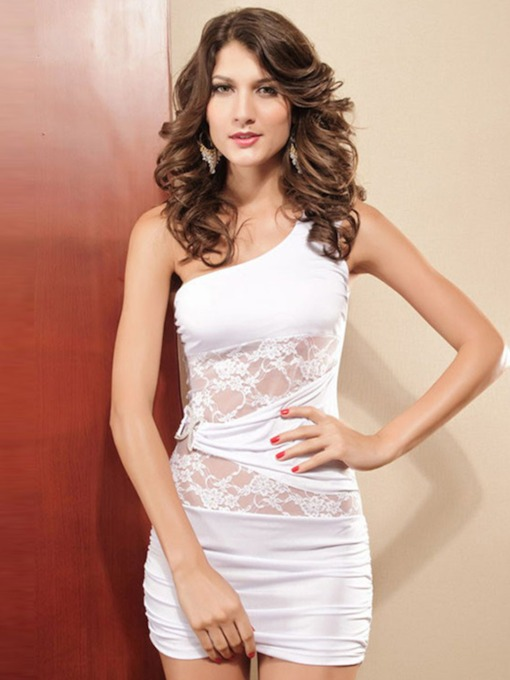 Women's Floral Inclined Shouldre Lace Tight Wrap Dress Chemise