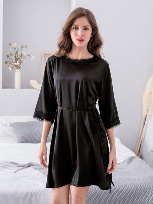 Plain Lace-Up Casual Women's Nightgown