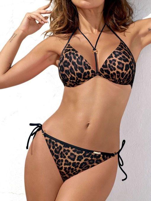 Lace-Up Bikini Set Plain Sexy Women's Swimwear