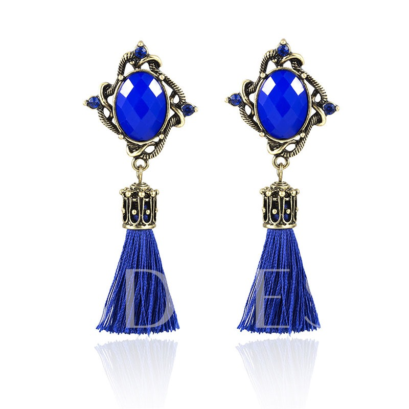 Gemstone Tassel Ethnic Style Drop Earrings