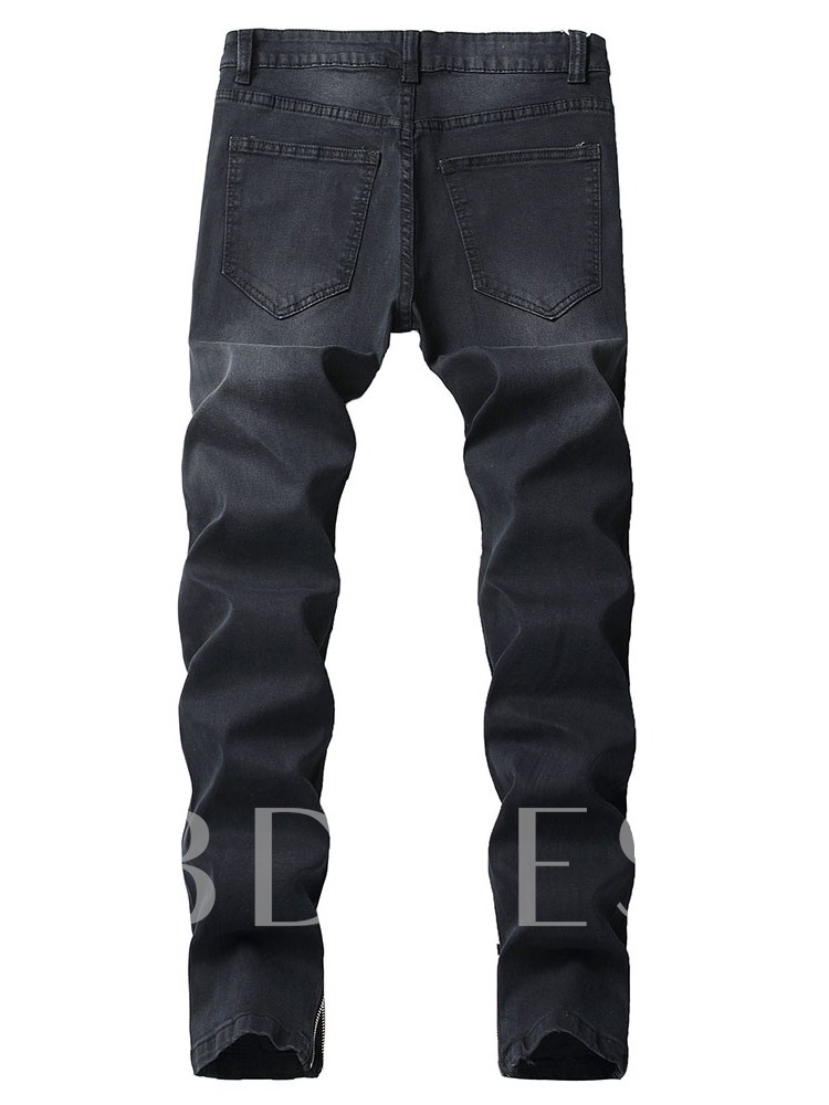 Worn Plain Thin Zipper Men's Jeans