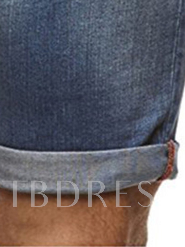 Worn Straight Thin Casual Men's Jeans