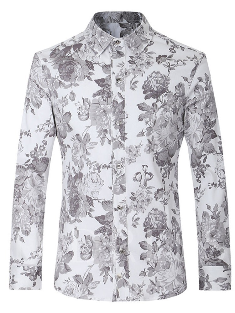 Long Sleeves Floral Casual Print Lapel Men's Shirt