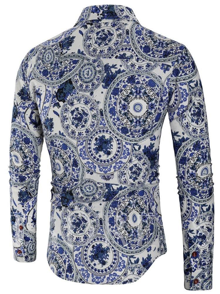 Lapel Print Floral Casual Slim Men's Shirt