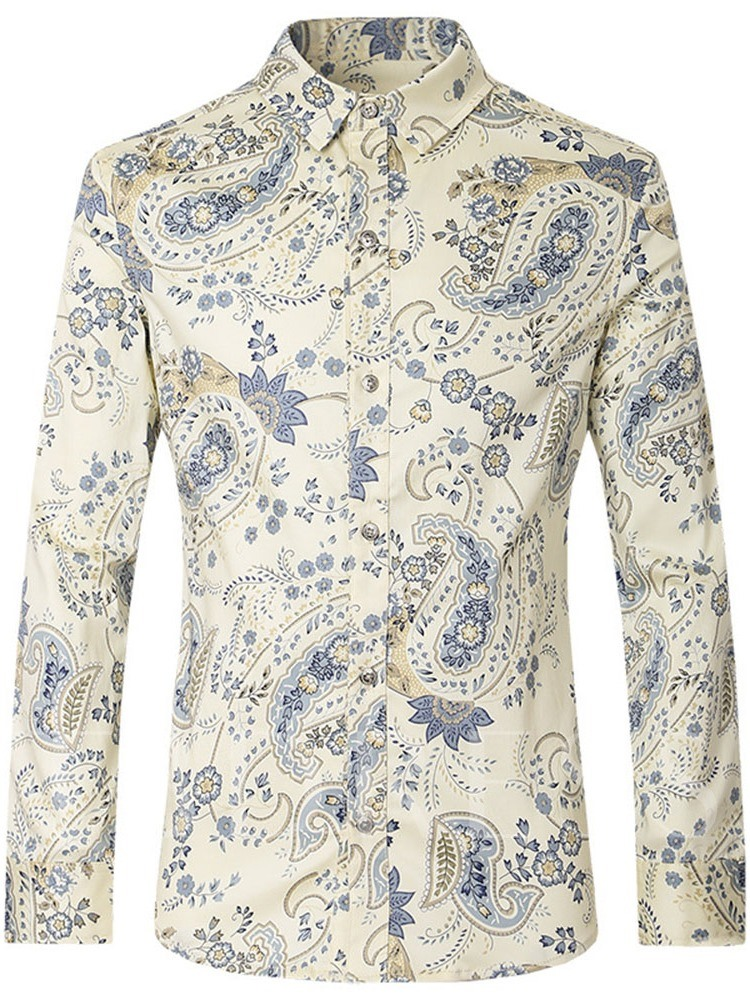 Print Casual Floral Lapel Single-Breasted Men's Shirt