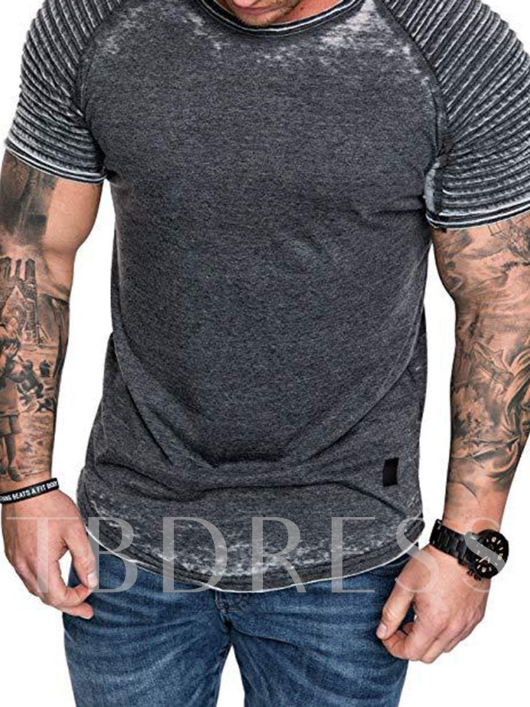 Pleated Casual Slim Men's T-shirt