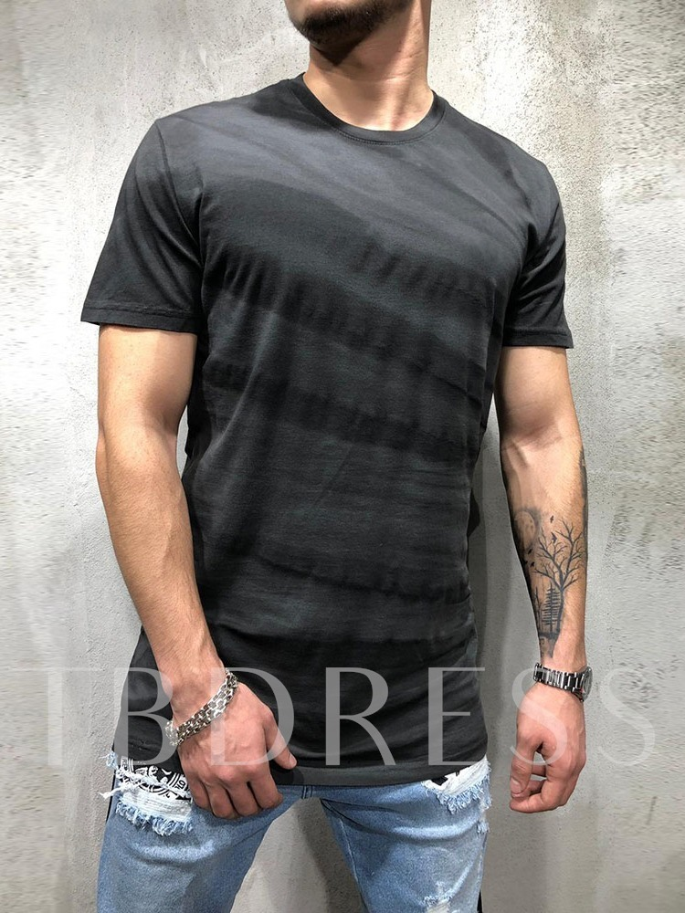 Print Round Neck Casual Short Sleeve Men's T-shirt