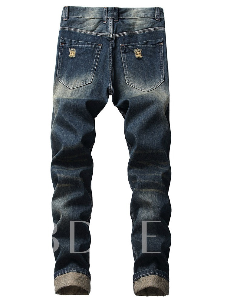 Thin Hole Straight Casual Men's Jeans