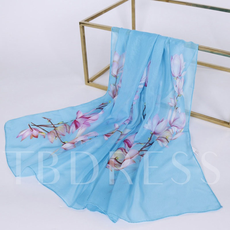 Women Chiffon Flower Embroidery Wrap Headband Scarf