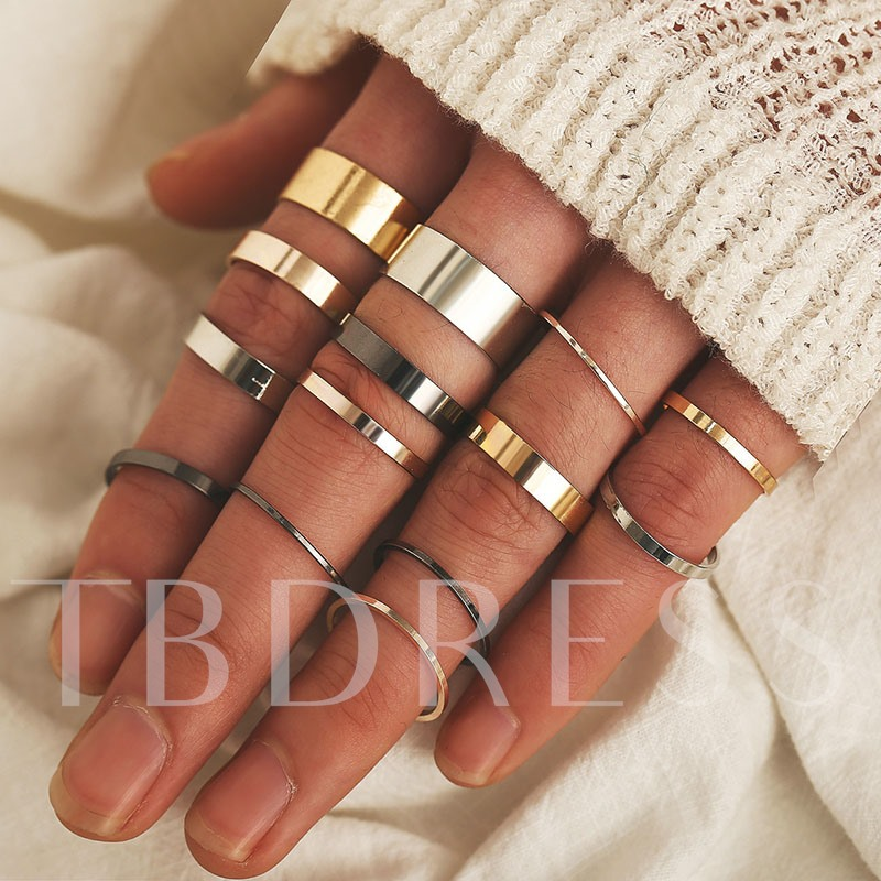 Simple Bohemia Antique Gold Ring Set