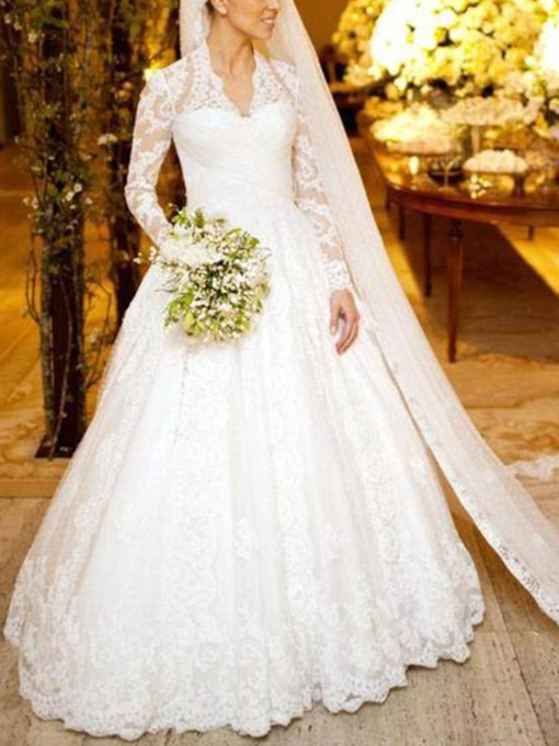 Appliques V-Neck Long Sleeves Ball Gown Wedding Dress 2019