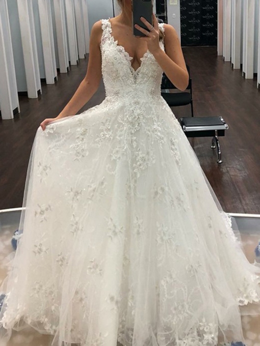 V-Neck A-Line Lace Outdoor Wedding Dress 2019