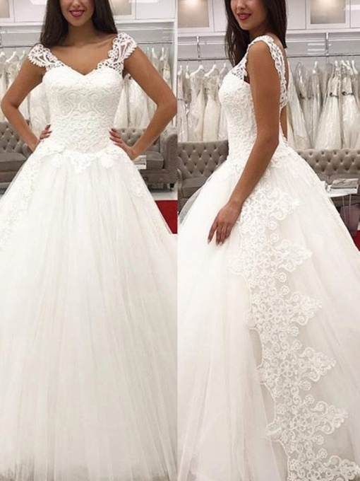 V-Neck Cap Sleeves Lace Ball Gown Wedding Dress 2019