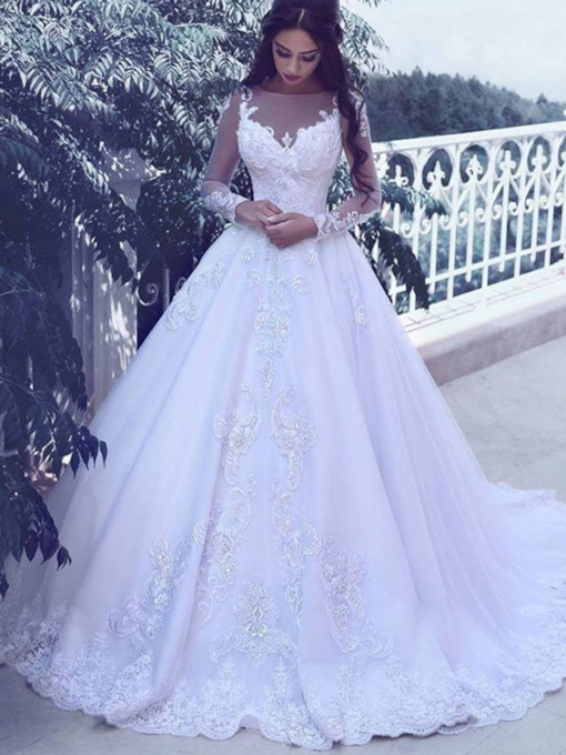 Illusion Neck Appliques Long Sleeves Ball Gown Wedding Dress 2019