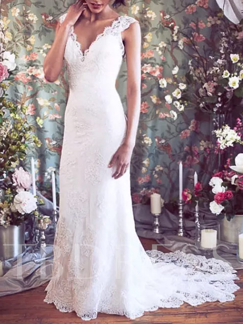 Court Train Button Mermaid Lace Wedding Dress 2019