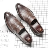 Plaid Plain Slip-On Pointed Toe Men's Shoes