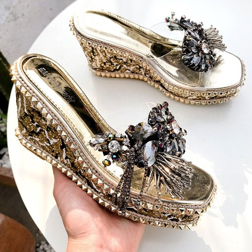 Platform Slip-On Wedge Heel Elegant Women's Prom Sandals