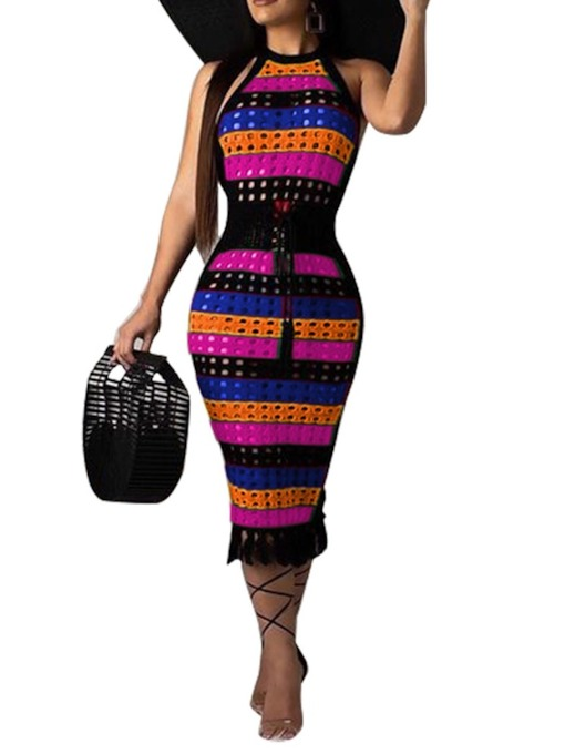 Mid-Calf Patchwork Sleeveless Pencil Women's Bodycon Dress