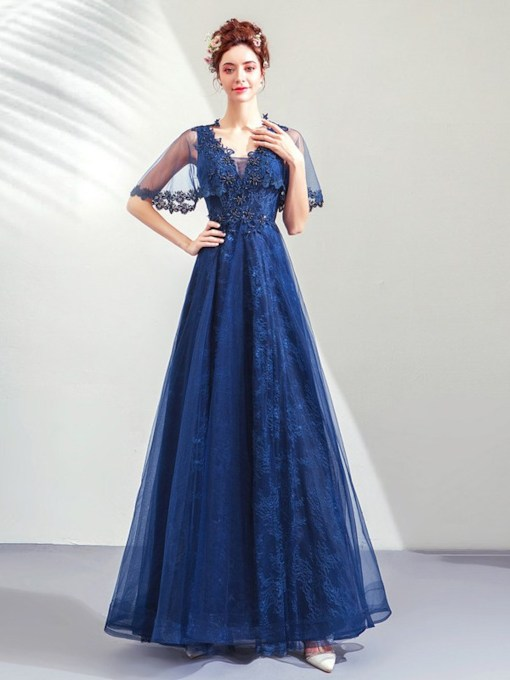 V-Neck A-Line Floor-Length Appliques Prom Dress 2021