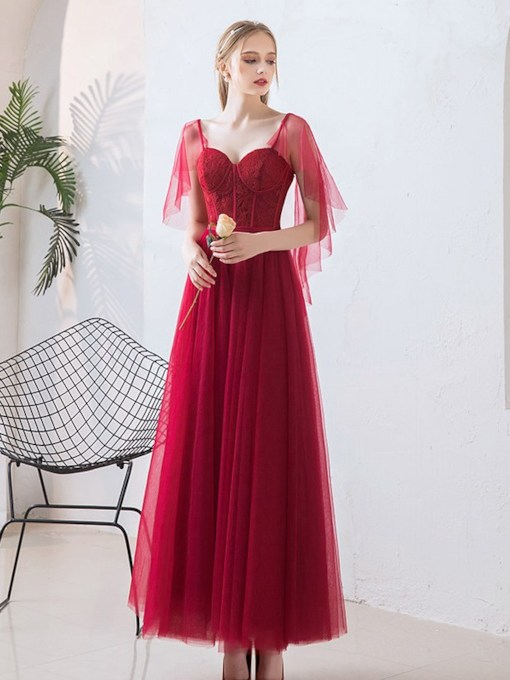 A-Line Ankle-Length Appliques Prom Dress 2021