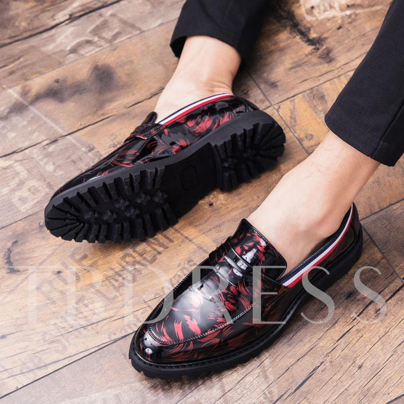 Slip-On Pointed Toe England Floral Men's PU Leather Shoes