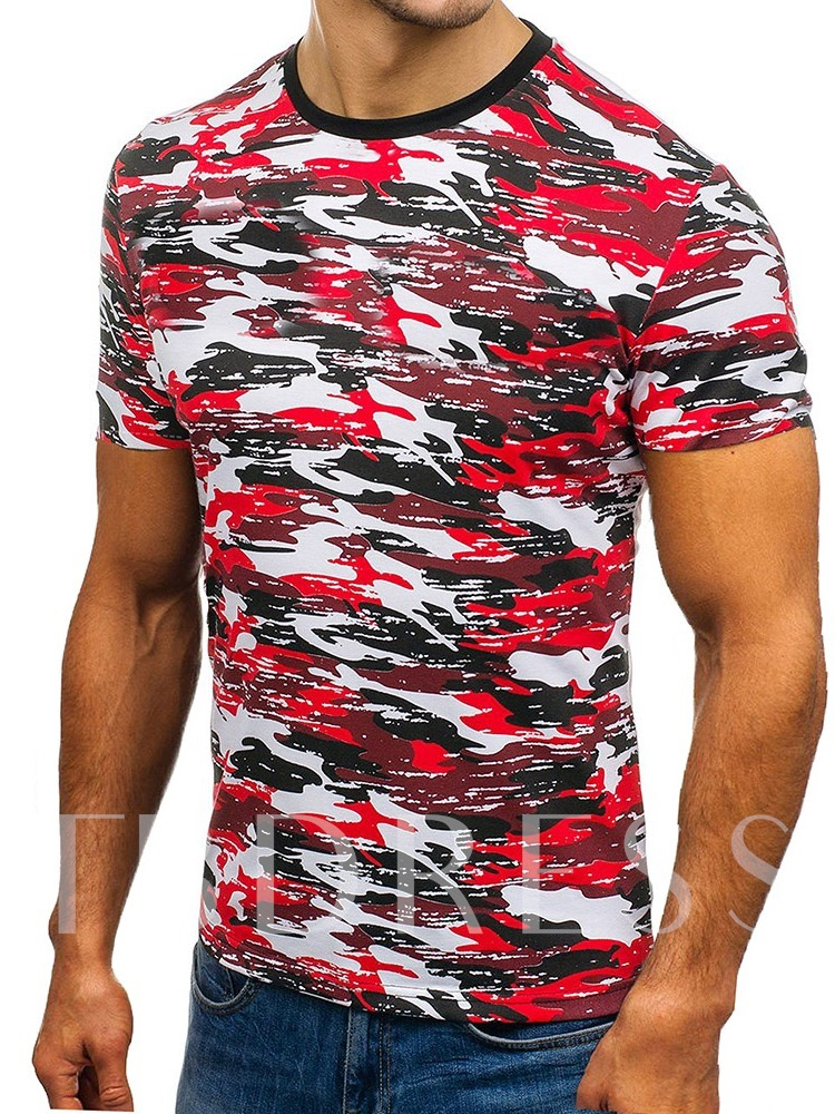 Casual Round Neck Camouflage Slim Men's T-shirt