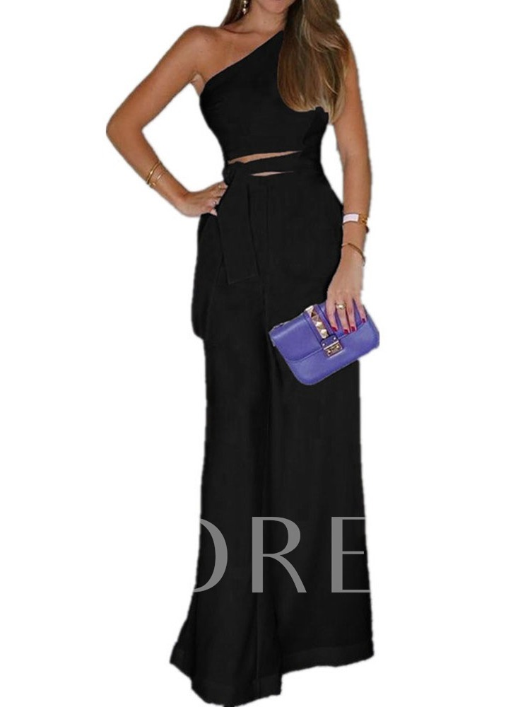 Full Length Plain Asymmetric Wide Legs Women's Jumpsuit