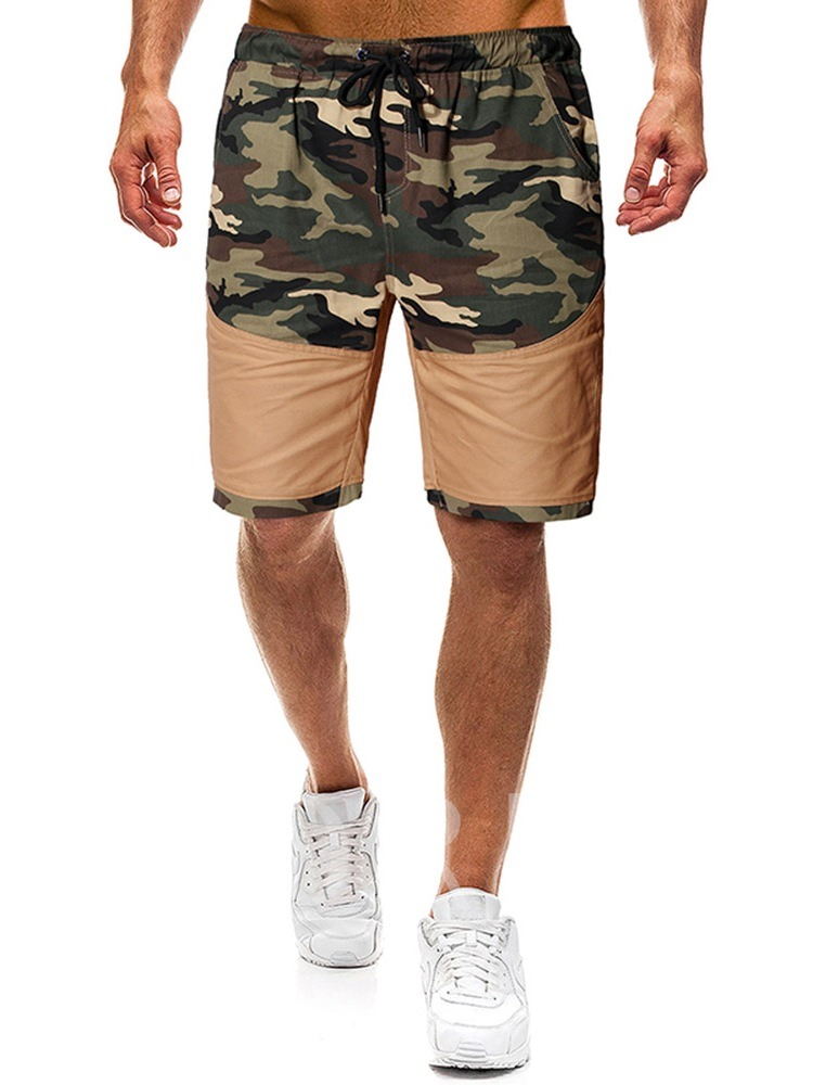 Camouflage Straight Thin Lace-Up Lace-Up Men's Casual Pants