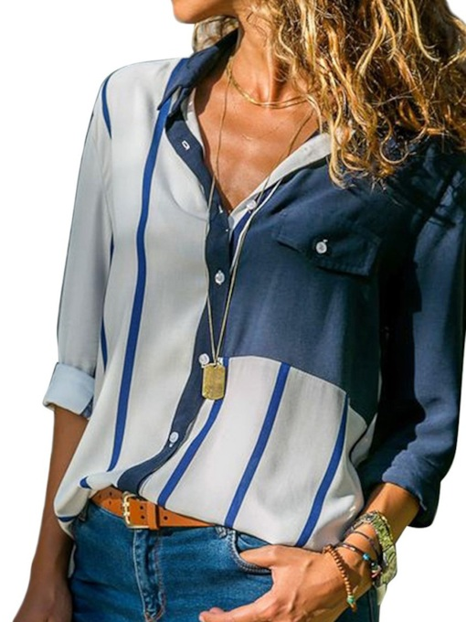 Button Stripe Standard Women's Shirt